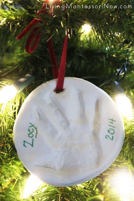 Baby or Toddler handprint or footprint keepsake ornament