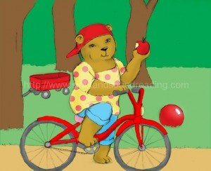 Bear on bike eating an apple: reading tutorial, learning games, phonics reading instruction, beginning sound worksheets, teaching phonics to struggling readers, reading programs, how to read, interactive books, learning,