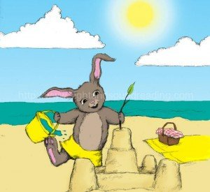 Bunny at the beach wearing yellow: how to teach phonics to struggling readers, learn to read, teaching, phonemic awareness, phonics tutorial, Help your child to read in 120 days, educators, educational games, remedial reading instruction, reading help for sensory processing disorder,