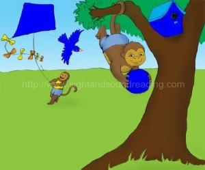 Monkey in the tree wearing blue: free, phonics program for struggling readers, reading techniques, sight words,
