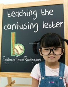 Teaching the confusing letter b. This trick is great for teaching letter reversals...