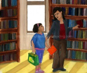Mom and daughter at a library: pre-kindergarten, teaching aids, learning to read, interactive books, letters, homeschool reading curriculum, free reading lessons, reading, reading readiness skills,