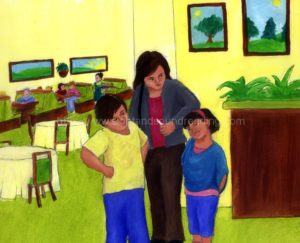 Family at a restaurant: how to read, remedial, reading skills ladders, learning games, reading vocabulary, electronic books, phonics online practice, reading, reading comprehension,