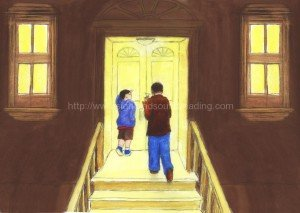 Father and son walking up to home: learn to read free, tutor to learn to read, Dolch, phonics, sight words, Dolch word list, home school, educational software, alphabet,
