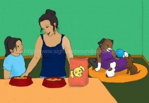 girl and mom feeding puppies: tutor for reading, language arts, explicit phonics instruction, sight words, remedial, electronic books, reading help for sensory processing disorder, phonics reading instruction, practice reading,