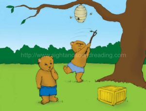 bear trying to reach a beehive: abc, learning aids, children's education, free, phonics activities, reading skills ladders, phonics program for struggling readers, interactive books, Help your child to read in 15 minutes/day, children,