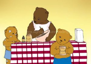 Mama bear making cake with baby bears: literacy, decoding, phonics videos, reading readiness test, video tutor learn to read, phonics lessons, kindergarten, reading practice, pre-kindergarten,