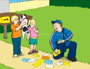 mailman making friends with a dog: phonics online practice, phonics reading tutor, remedial reading instruction, reading help for sensory processing disorder, kindergarten, reading programs, reading practice,