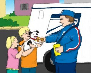 mailman making friends with dog: phonemic awareness, alphabet, reading skills ladders, free reading worksheets, phonics reading instruction, learning to read, homeschool curriculum for reading, interactive books, free,