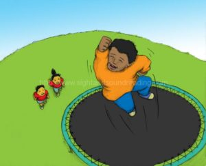 Boy jumping on trampoline: workbooks, practice reading, language arts, ABC, first grade, teaching, abc, interactive learning, video tutor learn to read, tutor for reading,