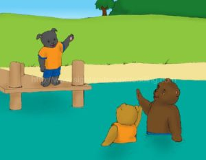 puppy waving at bear in water: sight words, teaching reading in 15 minutes/day, flashcards, phonics program for struggling readers, decoding, phonics lessons, teaching aids, Help your child to read in 120 days,