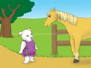 puppy meets horse on path: interactive learning, education, sight word reading tutor, reading help for sensory processing disorder, educators, reading and writing , free, remedial, children,