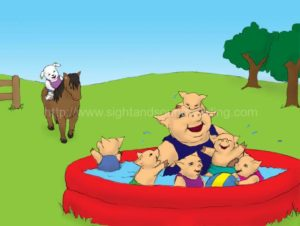 puppy rides horse to the pigs in the pool: sight words, ABC, Help your child to read in 120 days, reading comprehension, electronic books, first grade, alphabet, phonics lessons,