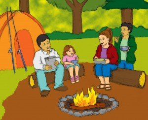 Family sitting around campfire while camping, writing journals, beginning sound worksheets, reading comprehension, ABC, phonics activities, educators, free printable worksheets reading,