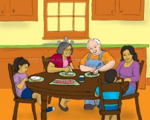 family eating a meal together: interactive learning, emergent reader, writing journals, educators, phonics websites, Dolch word list, reading practice, phonics online practice,