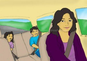 mom and children in car: education, teaching aids, phonics tutorial, homeschool curriculum for reading, free reading lessons, word families, children, educational games, phonics lessons,