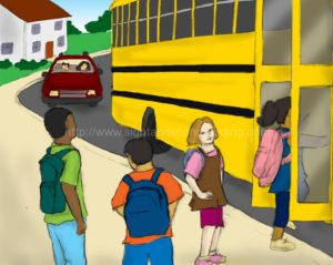 children waiting for bus: reading comprehension, home schooling, reading techniques, alphabet, workbooks, teaching sight words to struggling readers, teaching reading in 15 minutes/day, interactive books, reading vocabulary,
