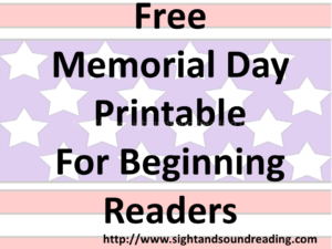 Free Memorial Day worksheets for beginning readers