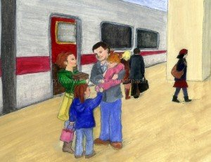Family at the train station: reading readiness skills, how to teach reading, home school, emergent reader, phonics lessons, homeschool curriculum for reading, homeschool reading curriculum,