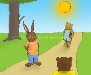 Bear and rabbit meet each other on a path: how to teach sight words to struggling readers, how to read, reading techniques, flashcards, word ladders, literacy, Help your child to read in 15 minutes/day, homeschool curriculum for reading, phonics,