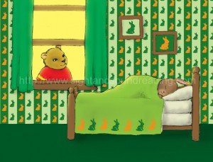 Bear trying to wake rabbit for the day: alphabet, learning video tutor learn to read, teaching aides, decoding,