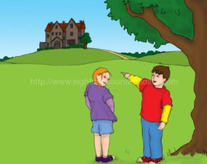 boy and girl looking at big house: home school, teaching, teaching children, teaching reading made easy, reading readiness skills, phonics, teaching, practice reading, learning to read,