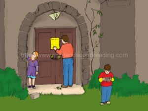 dad reading note on door at castle: homeschoolers, Dolch, reading, learning games, learning aids, beginning sound worksheets, learning, free printable worksheets learn to read free, tutor to learn to read, phonics websites,