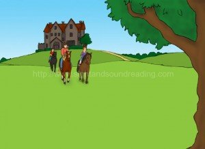 children riding away from castle: writing journals, reading readiness test, educational software, educational games, word families, phonics, homeschool reading curriculum, phonics online practice,