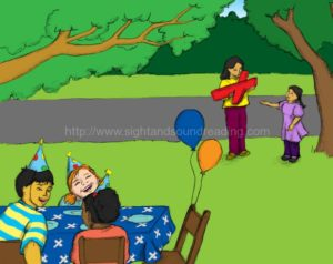 girl arrives at birthday party with mom: learning aids, beginning sound worksheets, reading comprehension, remedial, phonics, workbooks, activity books, reading comprehension, reading readiness skills,
