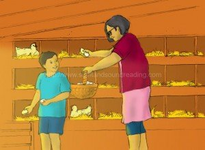 Grandma and grandson getting eggs from the barn: remedial reading instruction, reading comprehension, learning, sight word reading tutor, language arts, remedial, reading and writing , kindergarten, home schooling,