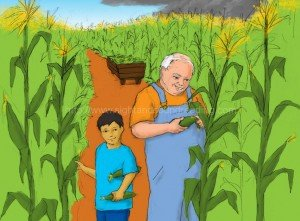 Grandpa and grandson picking corn at the farm: teaching reading in 15 minutes/day, how to read, teaching aids, Dolch, tutor to learn to read, how to teach sight words to struggling readers, free reading lessons, learn to read, phonics reading tutor,