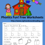Free Phonics worksheet for the letter B