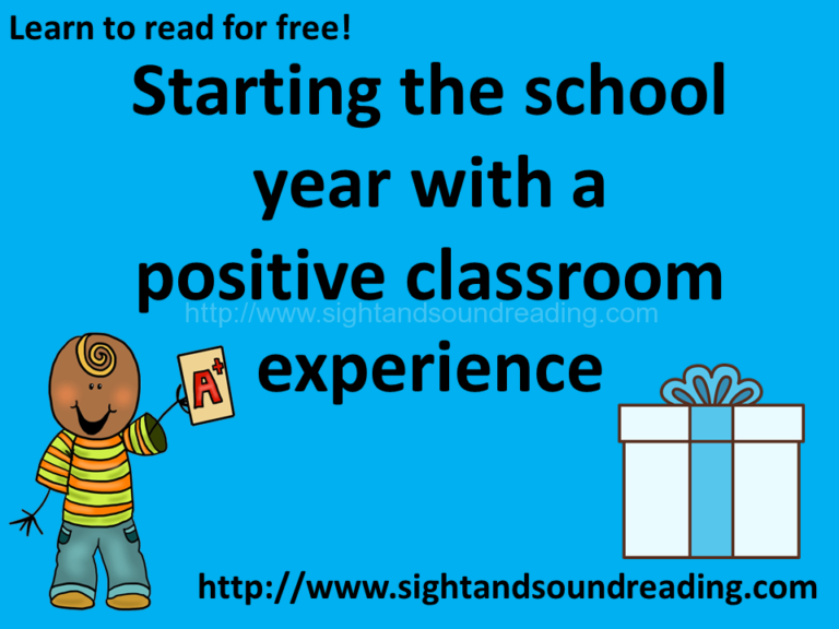 Starting the school year with a positive classroom experience