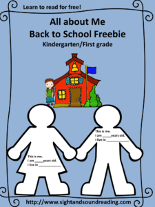 All about Me back to school activity book -great for kindergarte/first grade. More resources can be found at https://www.sightandsoundreading.com///newsite