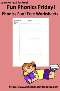 Free Phonics Worksheets on Friday! The Letter E: More free beginning resources can be found at https://www.sightandsoundreading.com///newsite. #phonics #free #preschool