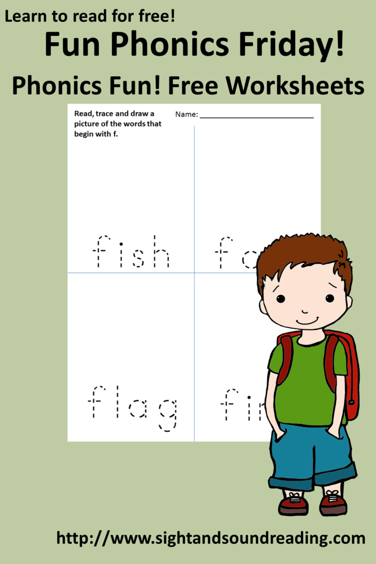 Free Phonics Worksheets:  The Letter F