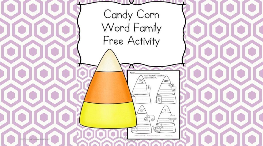Kindergarten Halloween Phonics Worksheet - Have fun with Phonics and Candy corns! Build the CVC words on the candy corn for Halloween Phonics Fun!