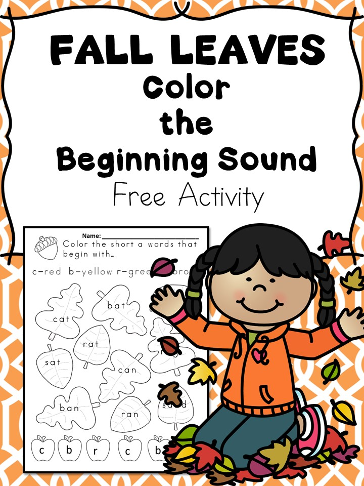 Printable Worksheets fall activity worksheets : Beginning Sounds -Fall Leaves Phonics Fun -Free Activity