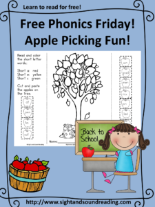 Free Phonics -apple picking worksheet.