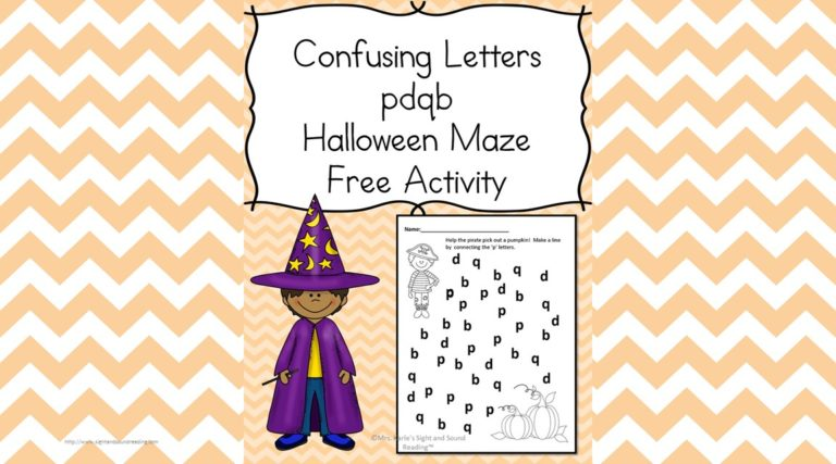 Halloween Phonics Worksheet:  Confusing Letters Edition