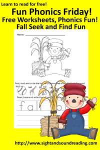 Free Fall phonics worksheet for kindergarten. More resources can be found at https://www.sightandsoundreading.com///newsite.