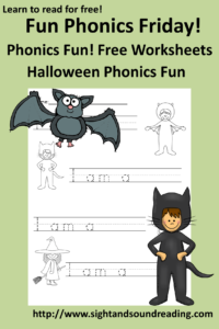 Halloween Phonics Worksheet for kindergarten and first grade