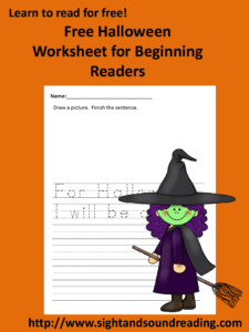 Free Halloween Phonics Worksheet. More resources can be found at https://www.sightandsoundreading.com