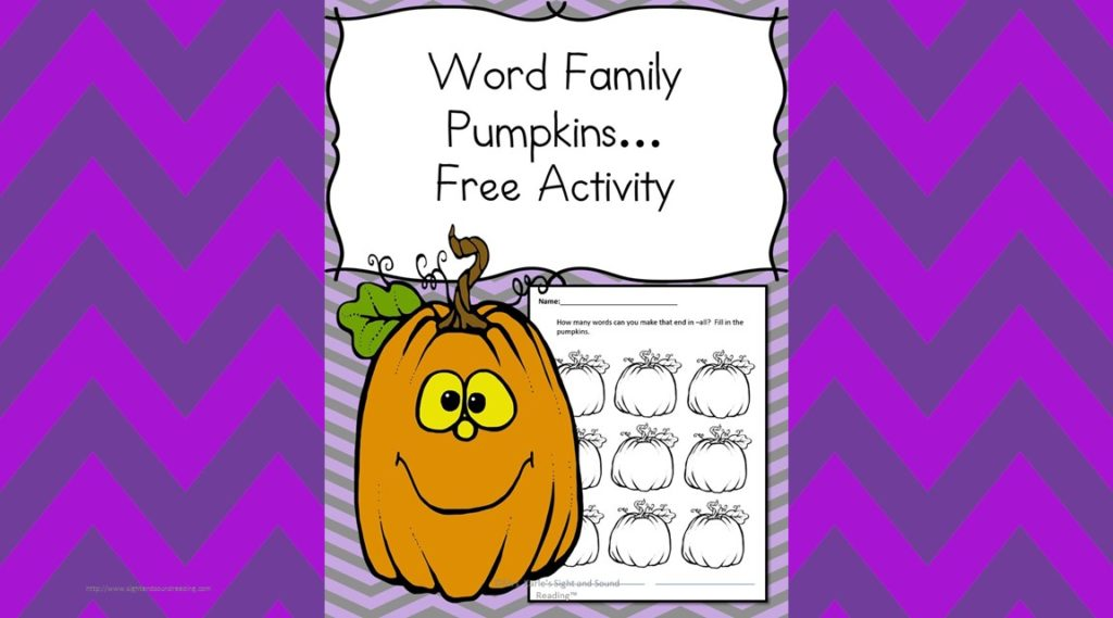 Word Family Pumpkins! How many words can you make that end in all?? Add them to the word family pumpkins! Fun Halloween or Fall Worksheet for Kindergarten or first grade.
