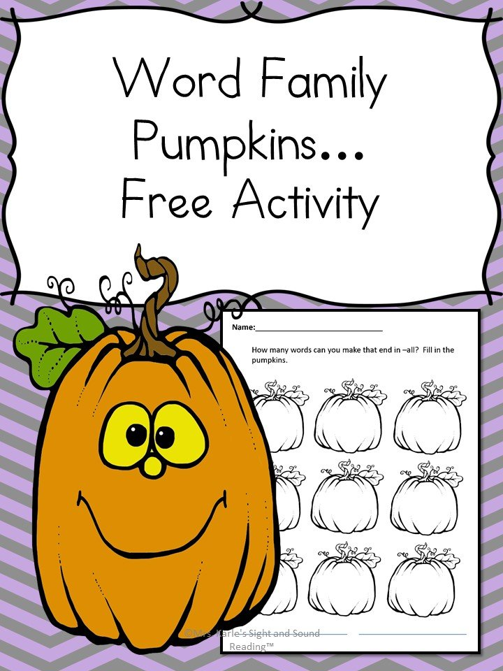 Word Family Pumpkins! how many words can you make that end in all?? Add them to the word fa the word family pumpkins! Fun Halloween or Fall Worksheet for Kindergarten or first grade.