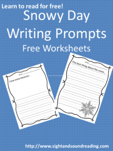 Free Snowy Day Writing Prompt: Visit https://www.sightandsoundreading.com for more free worksheets for preschool and kindergarten