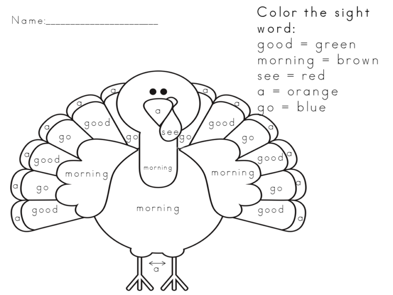 Free Thanksgiving Worksheet for Kids. Visit https://www.sightandsoundreading.com fore more free worksheets.