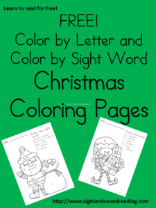 Free Christmas worksheets for kids -Great for beginning readers! Visit https://www.sightandsoundreading.com to grab them!