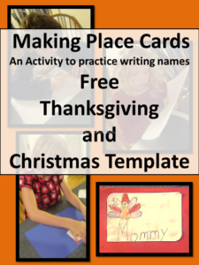 Free place card template for Thanksgiving and Chrstimas. Great activity to help children write their name. Visit https://www.sightandsoundreading.com