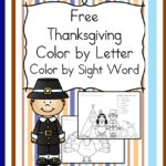 Free Thanksgiving Worksheets for kids. Free Color by Letter/Color by Sight Word worksheets for kindergarten and preschool beginning readers.